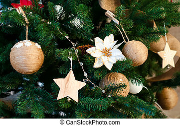 Closeup of Christmas-tree decorations. Background of...