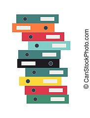 Stack of Folders Isolated. Business Document Cases - Stack...