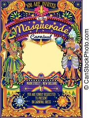 Mardi Gras Carnival Poster Template Carnival Mask Show...