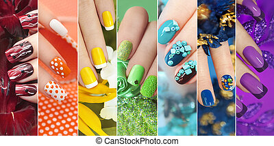 Colorful rainbow collection of nail designs.