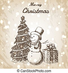 Christmas or New year hand drawn vector illustration. Snowman in tall hat, xmas tree and gift box sketch, vintage style. Brown grunge paper background.