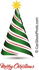 Stylized ribbon Christmas tree with yellow star. Vector illustration.