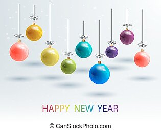 New Year Bckground with Set Colorful Christmas Balls. Vector...