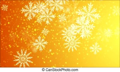 Video-animation of snowflakes falling over gold background -...