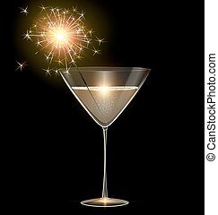 light glass of champagne and sparkler
