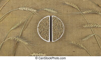 Zoom dish with rye grains and spikelets of wheat lying on sackcloth.