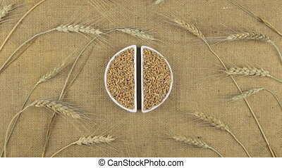 Zoom dish with wheat grains and spikelets of wheat lying on sackcloth.