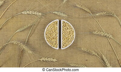 Zoom dish with barley grains and spikelets of wheat lying on sackcloth.