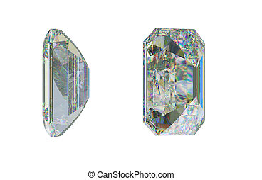 Side views of Emerald cut diamond on white