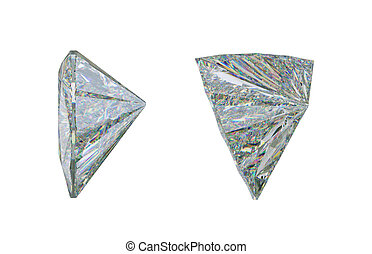 Side view of trillion cut diamond or gemstone on white