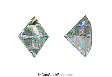 Sde views of princess cut diamond or gemstone on white