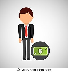 money business man suit worker icon