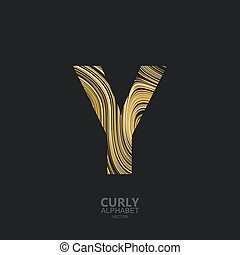 Curly textured Letter Y. Typographic vector element for...