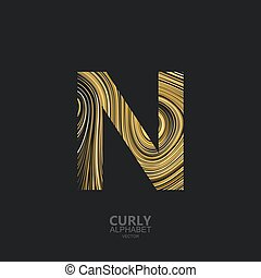 Curly textured Letter N. Typographic vector element for...