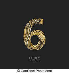 Golden number 6 - Curly textured number 6. Typographic...