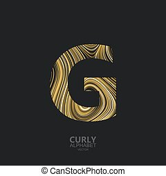 Curly textured Letter G. Typographic vector element for...