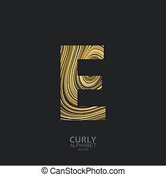 Curly textured Letter E. Typographic vector element for...