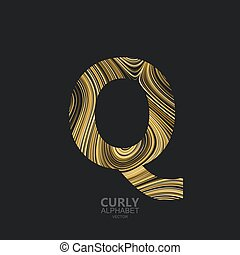 Curly textured Letter Q. Typographic vector element for...