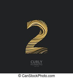 Golden number 2 - Curly textured number 2. Typographic...