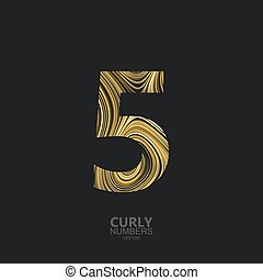 Golden number 5 - Curly textured number 5. Typographic...