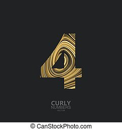 Golden number 4 - Curly textured number 4. Typographic...