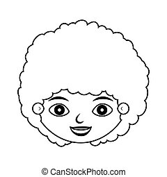 front face child silhouette with curly hair vector...