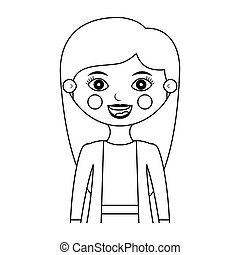half body woman smiling silhouette with jacket vector...