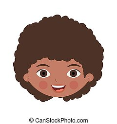 front face brunette girl with curly hair vector illustration