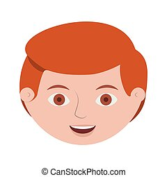front face redhead man hairstyle vector illustration