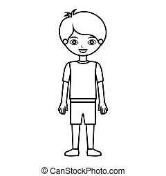 kid silhouette with t-shirt and shorts