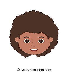 front face child with curly hair vector illustration