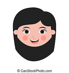 front face woman smiling with black short hair vector...