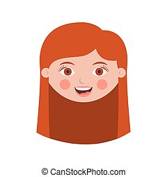 front face girl with long hair vector illustration