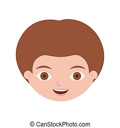 front face child with light brown hair vector illustration