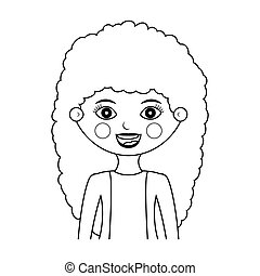 half body wavy hair woman silhouette with jacket vector...