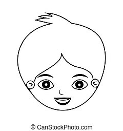 front face kid silhouette with crest vector illustration