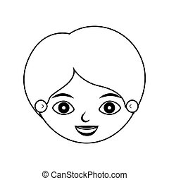 front face boy silhouette smiling vector illustration