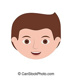 front face guy smiling with hairstyle vector illustration