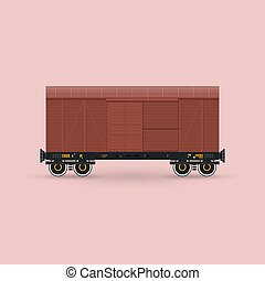 Closed Cargo Wagon Isolated on Pink Background, Railway...