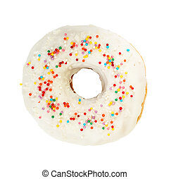 Donut with white icing and colorful decoration isolated on...