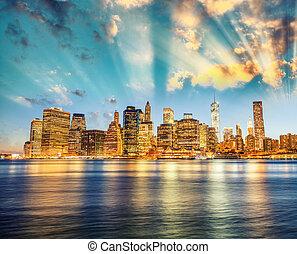 Amazing sunset panoramic skyline of Lower Manhattan as seen...