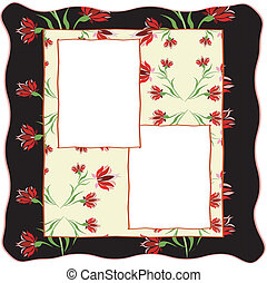Frame with ornament,red flowers.