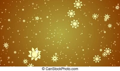 Video-animation of snowflakes and stars falling over gold...