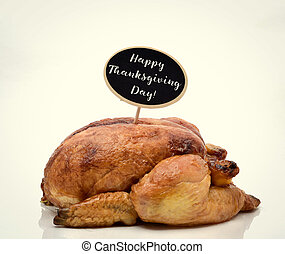 roast turkey and text happy thanksgiving day - a roast...