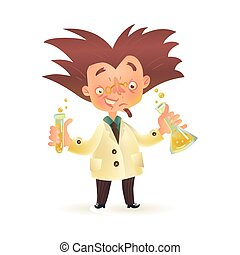Mad professor in lab coat holding chemical flask, test tube...