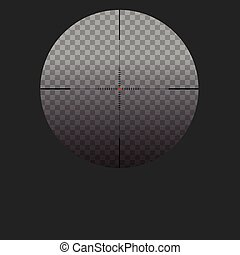 Isolated vector illustration with sniper sight, cross-hair  red dot.