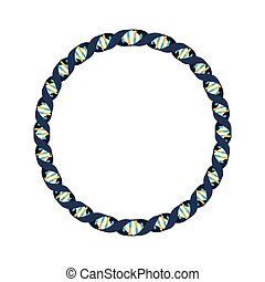 genetic code in circle with bases in cold colors vector...