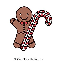 cookie Christmas with candy cane