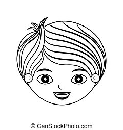 front face child silhouette with stripes hair vector...