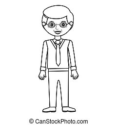 elderly man standin with formal suit vector illustration